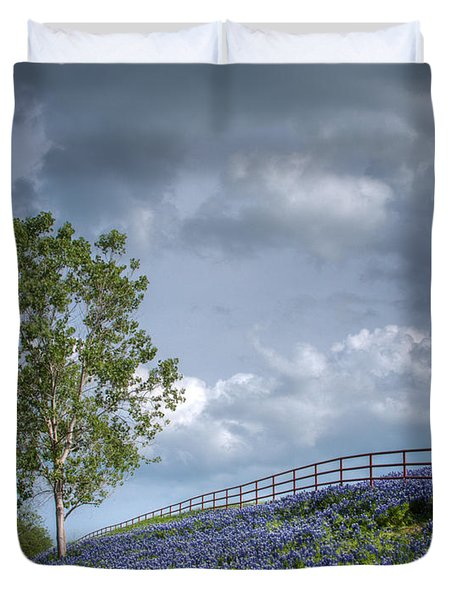 Clouds And Bluebonnets Duvet Cover