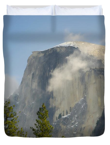 Clouds Around Half Dome  Duvet Cover by Jim And Emily Bush