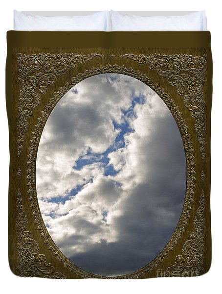 Clouds In Vintage Metalic Frame Duvet Cover