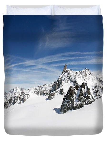 Clouds Over A Snow Covered Mountain Duvet Cover