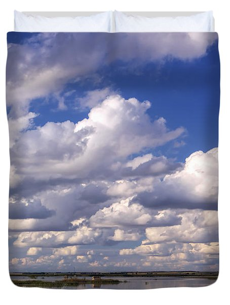 Clouds Over Cheyenne Bottoms Duvet Cover