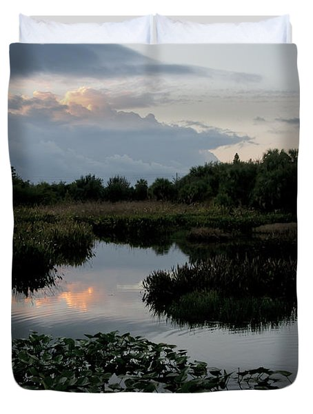 Clouds Over Green Cay Wetlands Duvet Cover by Mark Newman