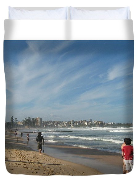 Duvet Cover featuring the photograph Clouds Over Manly Beach by Leanne Seymour