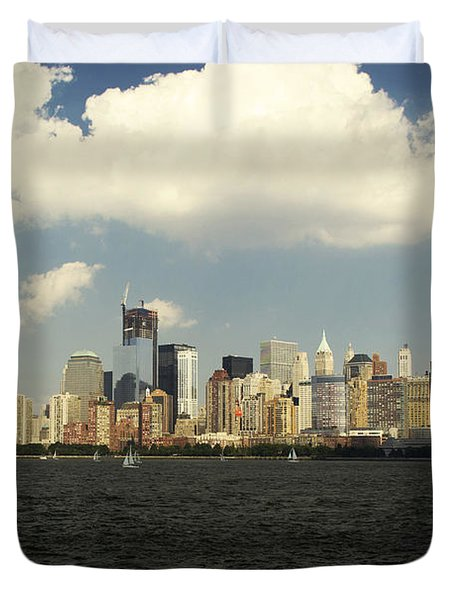Clouds Over New York Skyline Duvet Cover