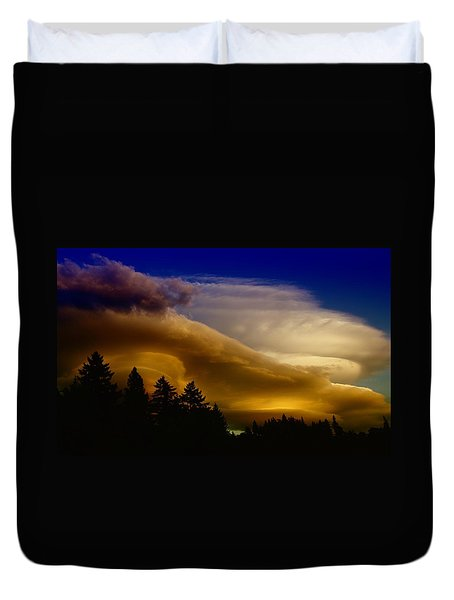 Clouds Over Southern Alberta Duvet Cover by Jeff Swan