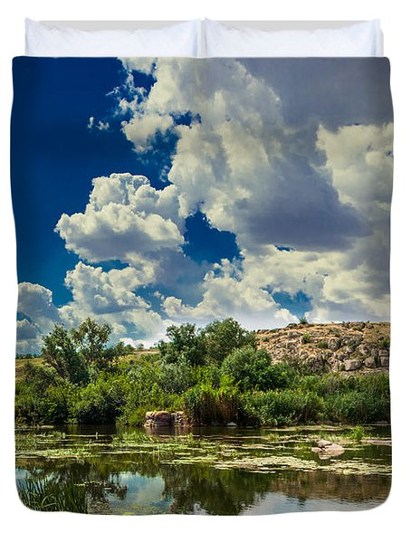 Clouds Over The River Duvet Cover by Dmytro Korol