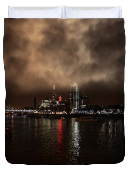 Clouds Over The River Thames Duvet Cover by Doc Braham