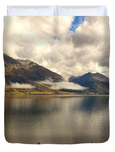 Duvet Cover featuring the photograph Clouds Over Wakatipu #1 by Stuart Litoff