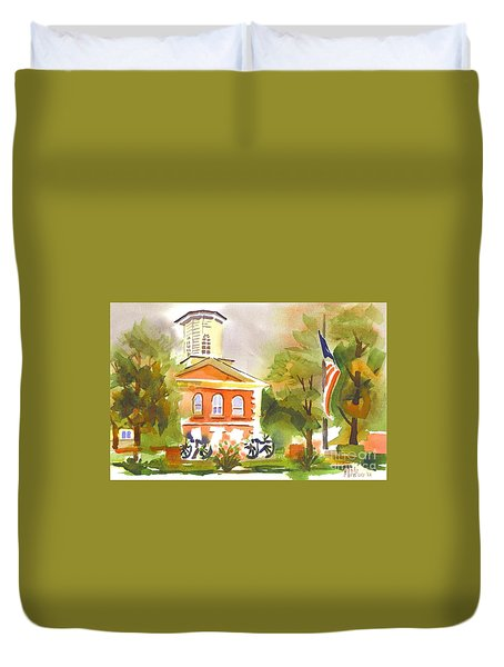 Cloudy Day At The Courthouse Duvet Cover by Kip DeVore