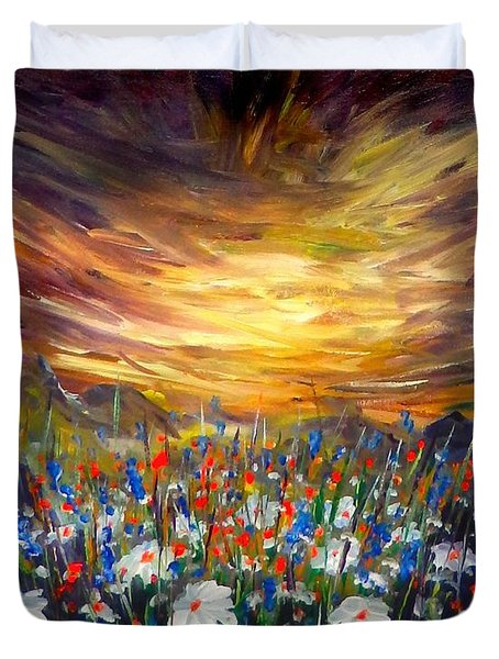 Duvet Cover featuring the painting Cloudy Sunset In Valley by Lilia D