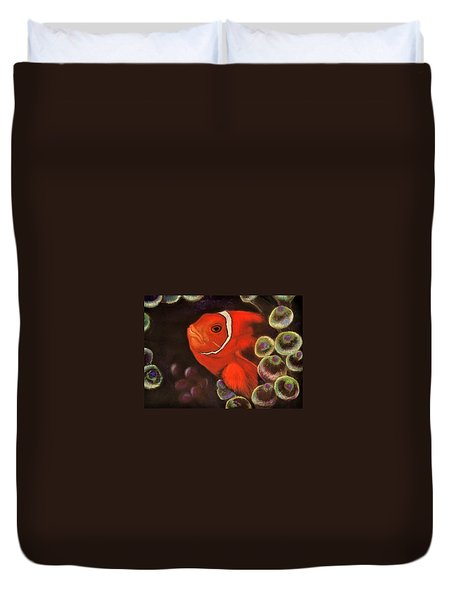 Clown Fish In Hiding  Pastel Duvet Cover