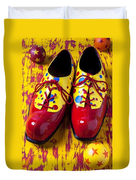 Clown Shoes And Balls Duvet Cover by Garry Gay