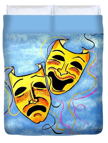 Duvet Cover featuring the painting Comedy And Tragedy by Nora Shepley