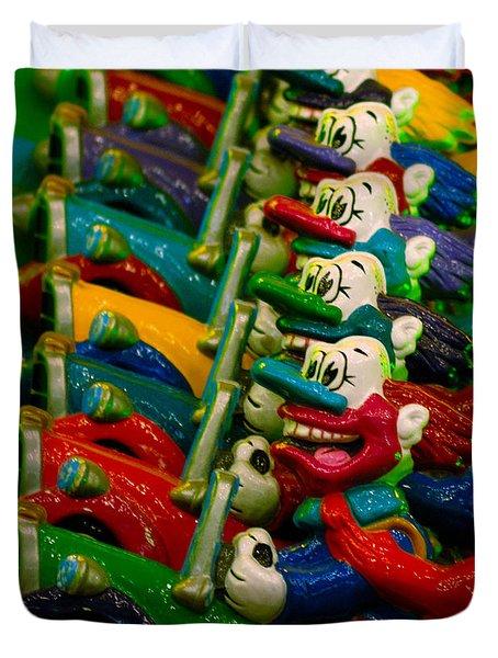 Clowns In Cars Amusement Park Game Duvet Cover