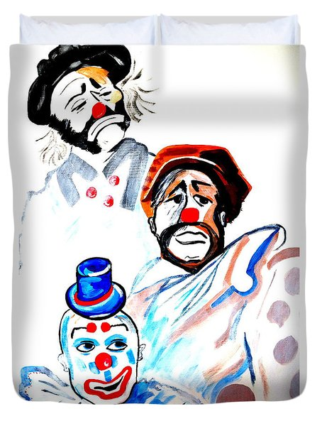 Duvet Cover featuring the painting Clowns In Heaven by Nora Shepley