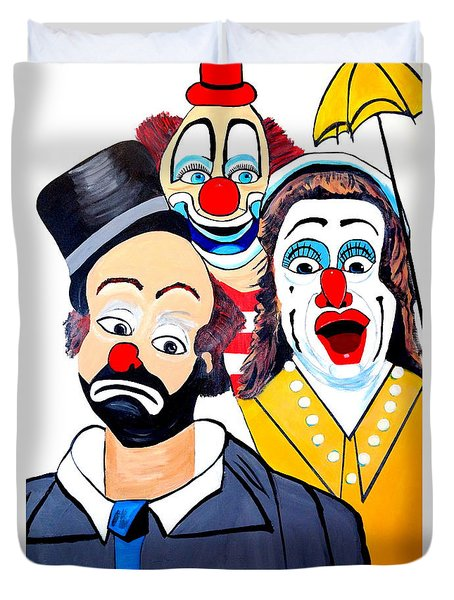Duvet Cover featuring the painting Clowns In Shock by Nora Shepley
