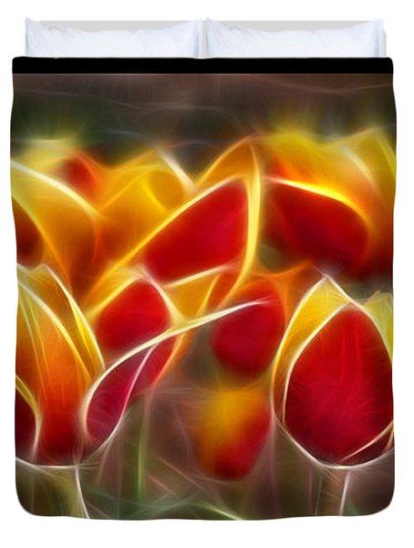 Cluisiana Tulips Triptych  Duvet Cover by Peter Piatt