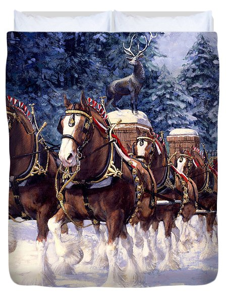 Clydesdale Hitch Grants Farm Winter Duvet Cover