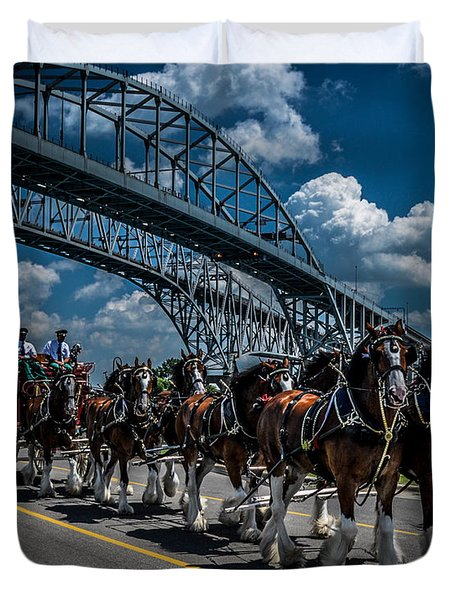 Clydesdales And Blue Water Bridges Duvet Cover