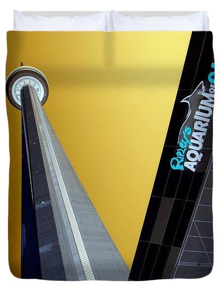 Cn Tower And Aquarium Duvet Cover by Valentino Visentini