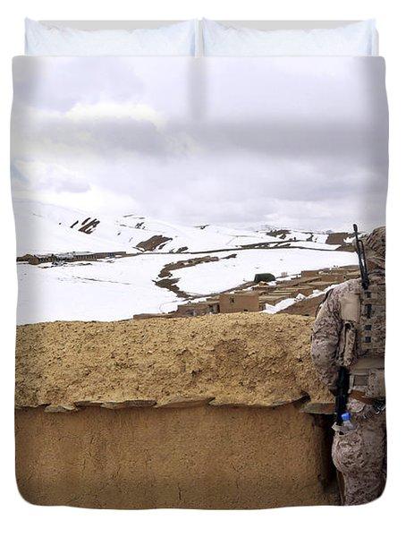 Coalition Forces Visit The Hazaran Duvet Cover by Stocktrek Images