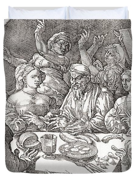 Coarse Behaviour At The Dining Table During The Renaissance Period.  After A Spanish Copper Duvet Cover