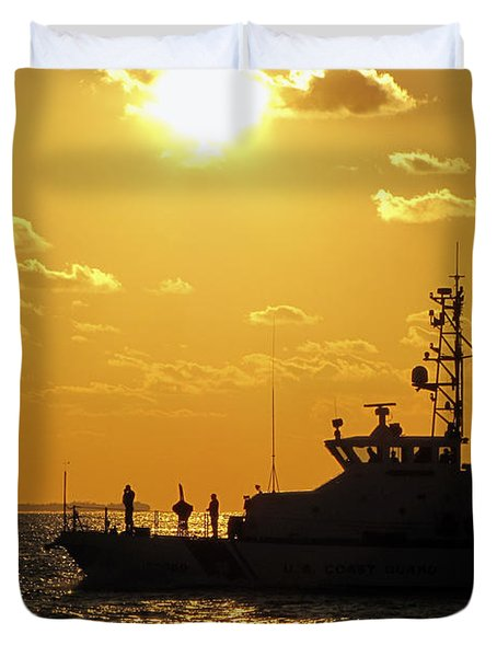 Coast Guard In Paradise - Key West Duvet Cover
