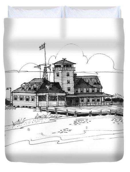 Coast Guard Station 2 Ocracoke 1970s Duvet Cover