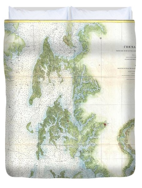 Coast Survey Chart Or Map Of The Chesapeake Bay Duvet Cover by Paul Fearn