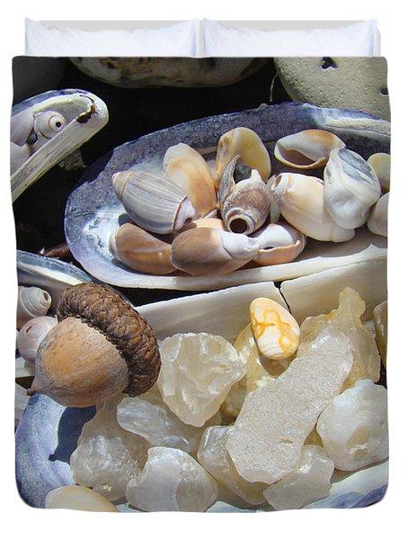 Coastal Beach Art Prints Agates Shells Acorn Duvet Cover by Baslee Troutman