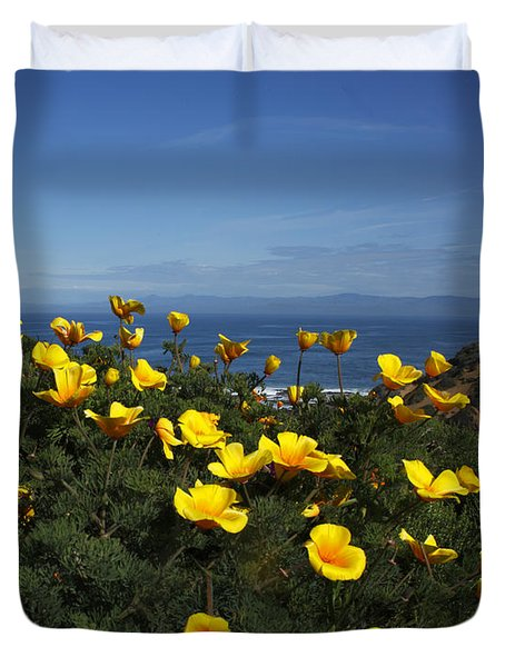 Coastal California Poppies Duvet Cover