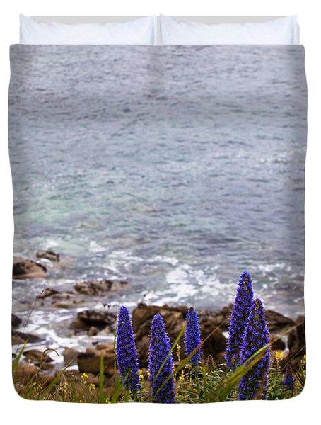 Coastal Cliff Flowers Duvet Cover by Melinda Ledsome