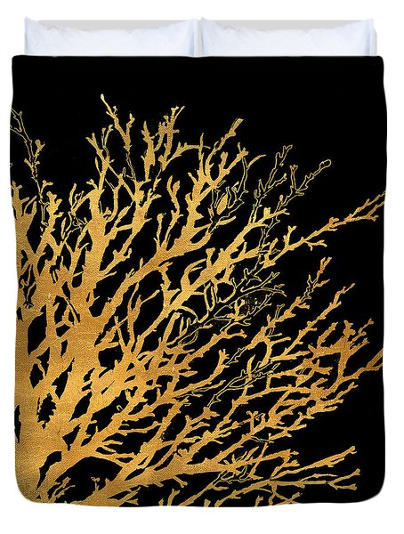Coastal Coral On Black II Duvet Cover