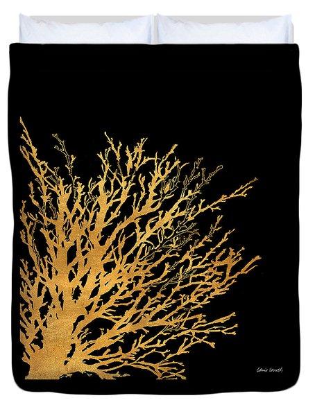 Coastal Coral On Black II Duvet Cover