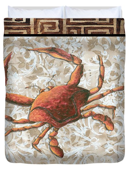 Coastal Crab Decorative Painting Greek Border Design By Madart Studios Duvet Cover by Megan Duncanson