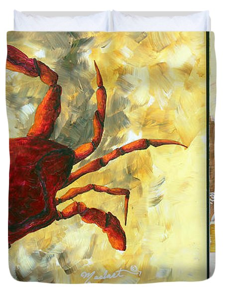 Coastal Crab Decorative Painting Original Art Coastal Luxe Crab By Madart Duvet Cover by Megan Duncanson