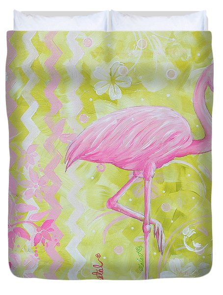 Coastal Decorative Pink Green Floral Chevron Pattern Art Flamingo Dance By Madart Duvet Cover