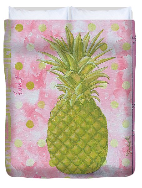 Coastal Decorative Pink Green Floral Greek Pattern Fruit Art Fresh Pineapple By Madart Duvet Cover by Megan Duncanson