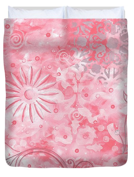 Coastal Decorative Pink Peach Floral Chevron Pattern Art Pink Whimsy By Madart Duvet Cover by Megan Duncanson