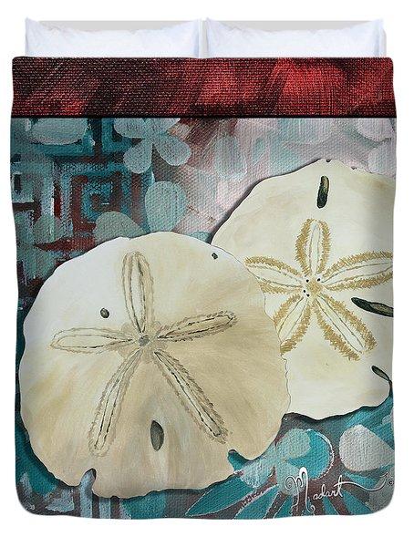 Coastal Decorative Shell Art Original Painting Sand Dollars Asian Influence I By Megan Duncanson Duvet Cover by Megan Duncanson