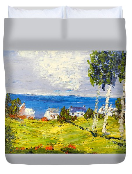 Duvet Cover featuring the painting Coastal Fishing Village by Pamela  Meredith