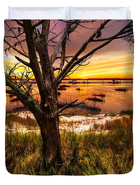 Coastal Harbor Duvet Cover by Debra and Dave Vanderlaan