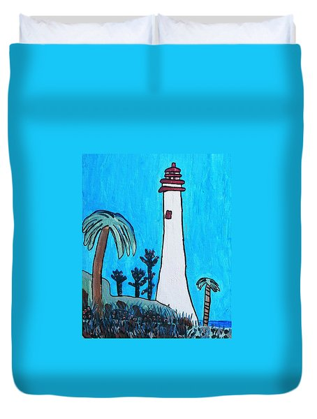 Coastal Lighthouse Duvet Cover by Artists With Autism Inc