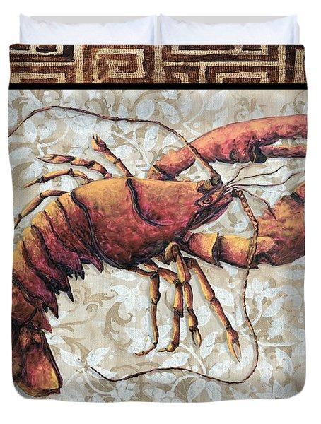 Coastal Lobster Decorative Painting Greek Border Design By Madart Studios Duvet Cover by Megan Duncanson