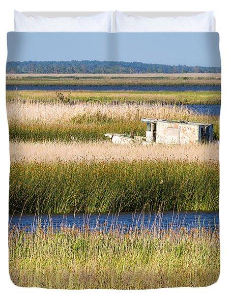 Coastal Marshlands With Old Fishing Boat Duvet Cover by Bill Swindaman