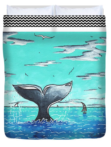 Coastal Nautical Decorative Art Original Painting Whale Tail Chevron Pattern Sea Farer By Madart Duvet Cover by Megan Duncanson