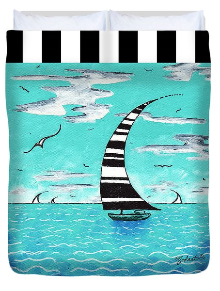 Coastal Nautical Decorative Art Original Painting With Stripes Refreshing By Madart Duvet Cover by Megan Duncanson