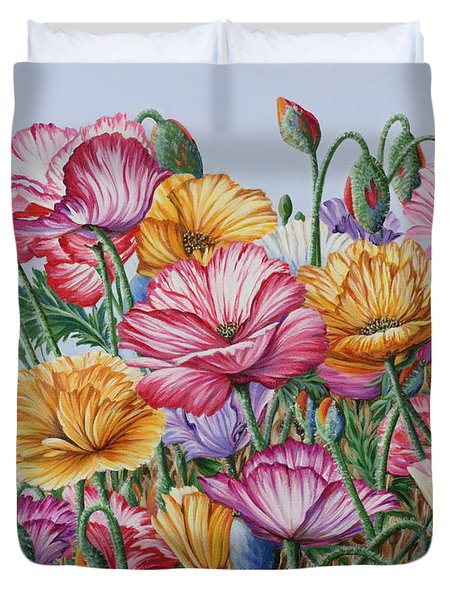 Duvet Cover featuring the painting Coastal Poppies by Jane Girardot