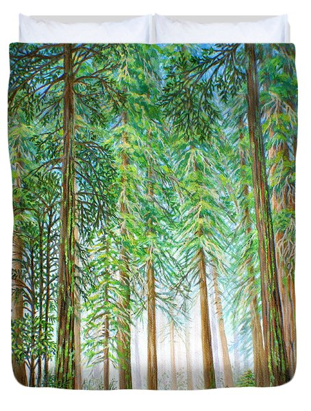 Duvet Cover featuring the painting Coastal Redwoods by Jane Girardot