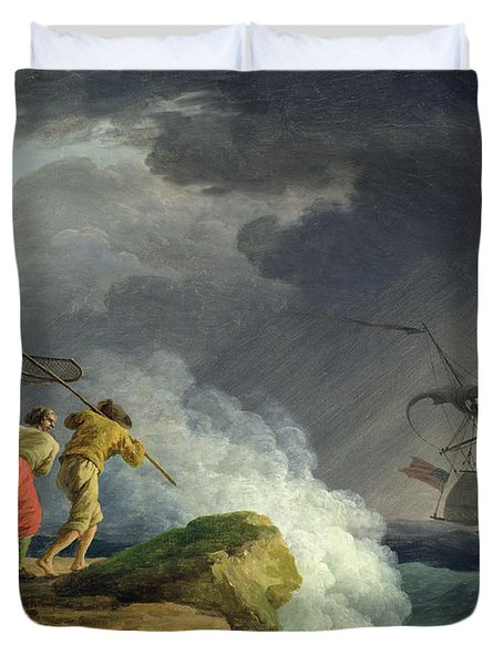 Coastal Scene In A Storm Duvet Cover